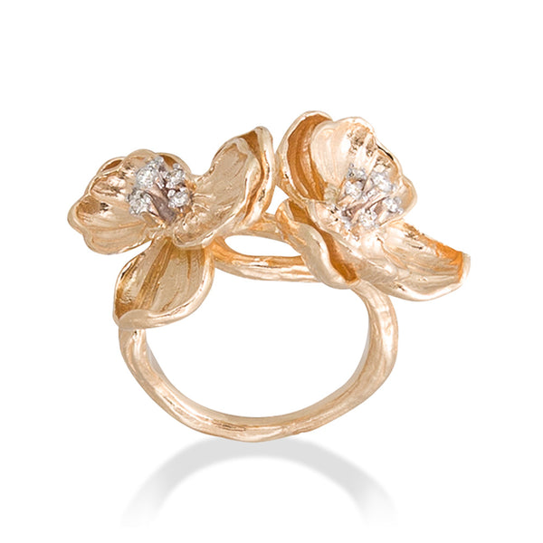 DOUBLE ORCHID GOLD RING