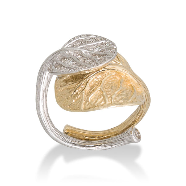 DOUBLE BOTANICAL LEAF WHITE & YELLOW GOLD RING WITH WHITE DIAMONDS