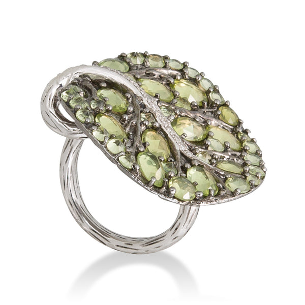 BOTANICAL LEAF PERIDOT RING