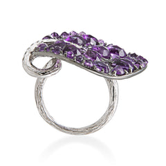 BOTANICAL LEAF AMETHYST RING