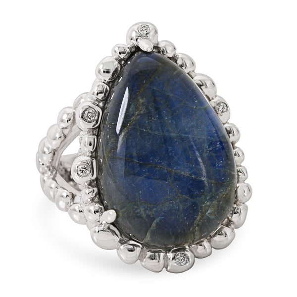 MOLTEN TEARDROP LABRADORITE AND WHITE DIAMOND RING