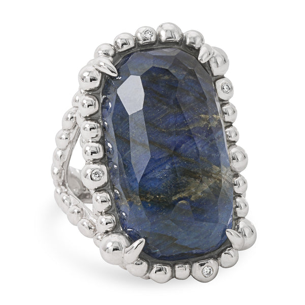 MOLTEN RECTANGLE LABRADORITE AND WHITE DIAMOND RING