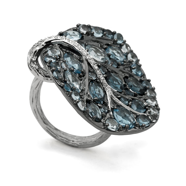 BOTANICAL LEAF BLUE TOPAZ LEAF RING