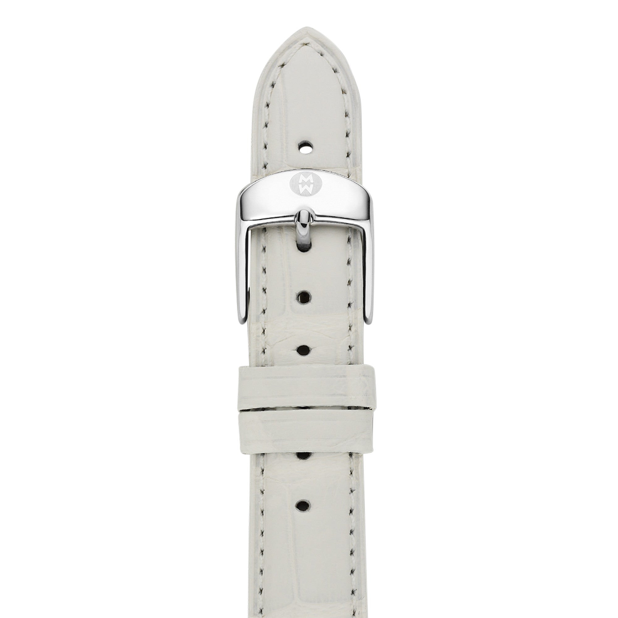 16mm White Alligator Strap