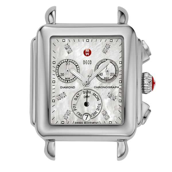Deco Day Diamond-Accented Stainless Steel Watch Head