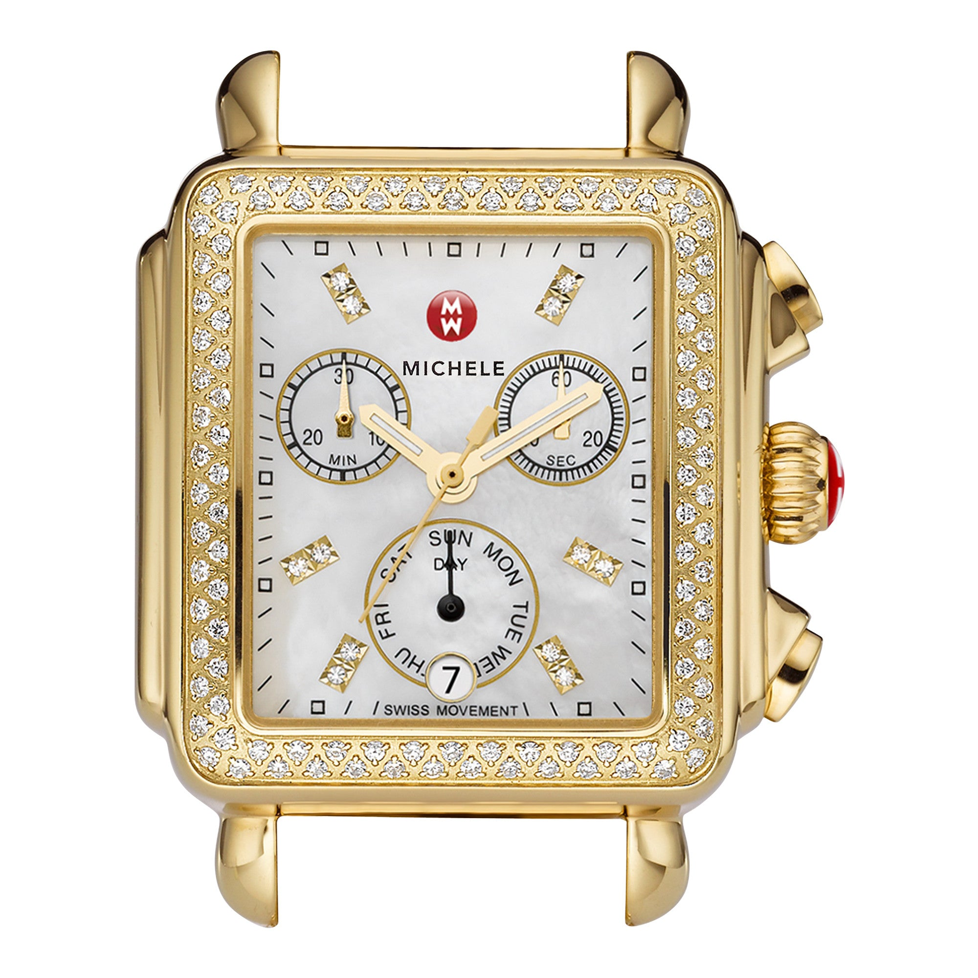 Deco Analog Display Swiss Quartz Gold Watch Head