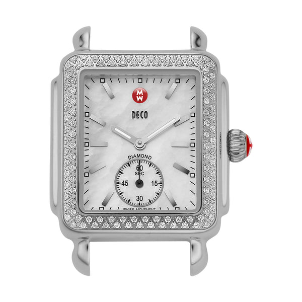 Michele Deco Diamond Bezel Stainless Steel Watch Head