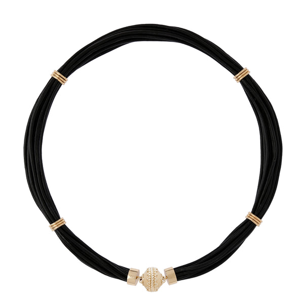The Aspen Leather Jet Black Necklace