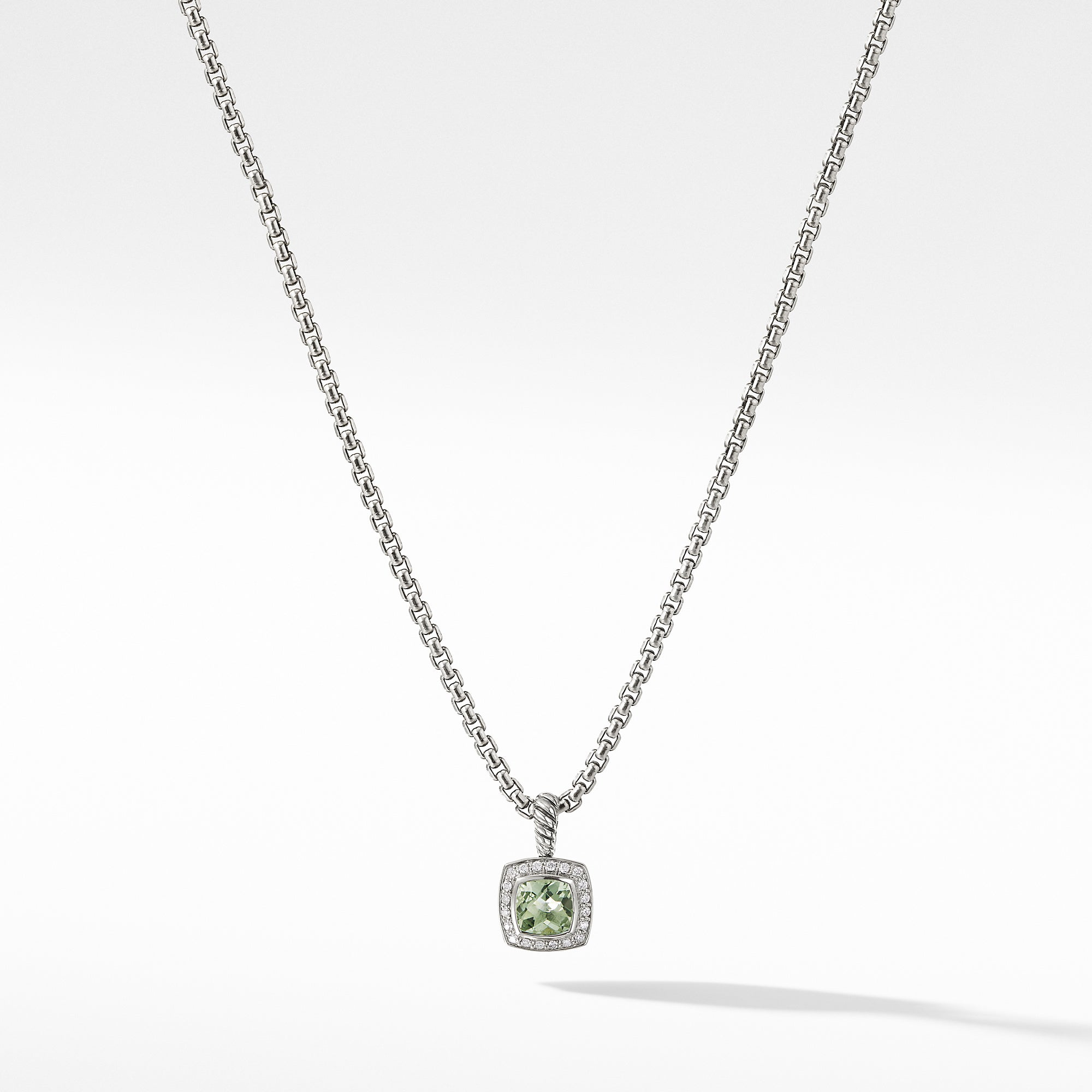 Pendant Necklace with Prasiolite and Diamonds