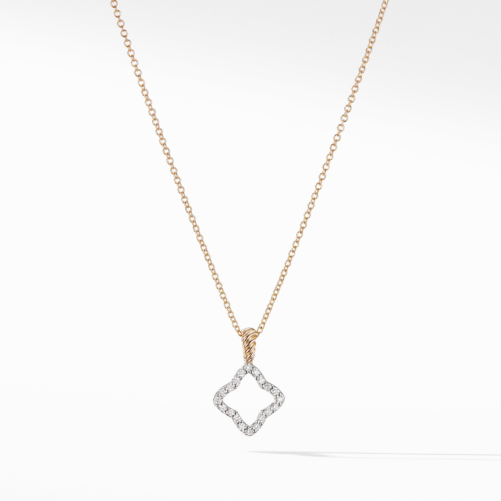 Cable Collectibles Quatrefoil® Pendant with Diamonds in Gold on Chain
