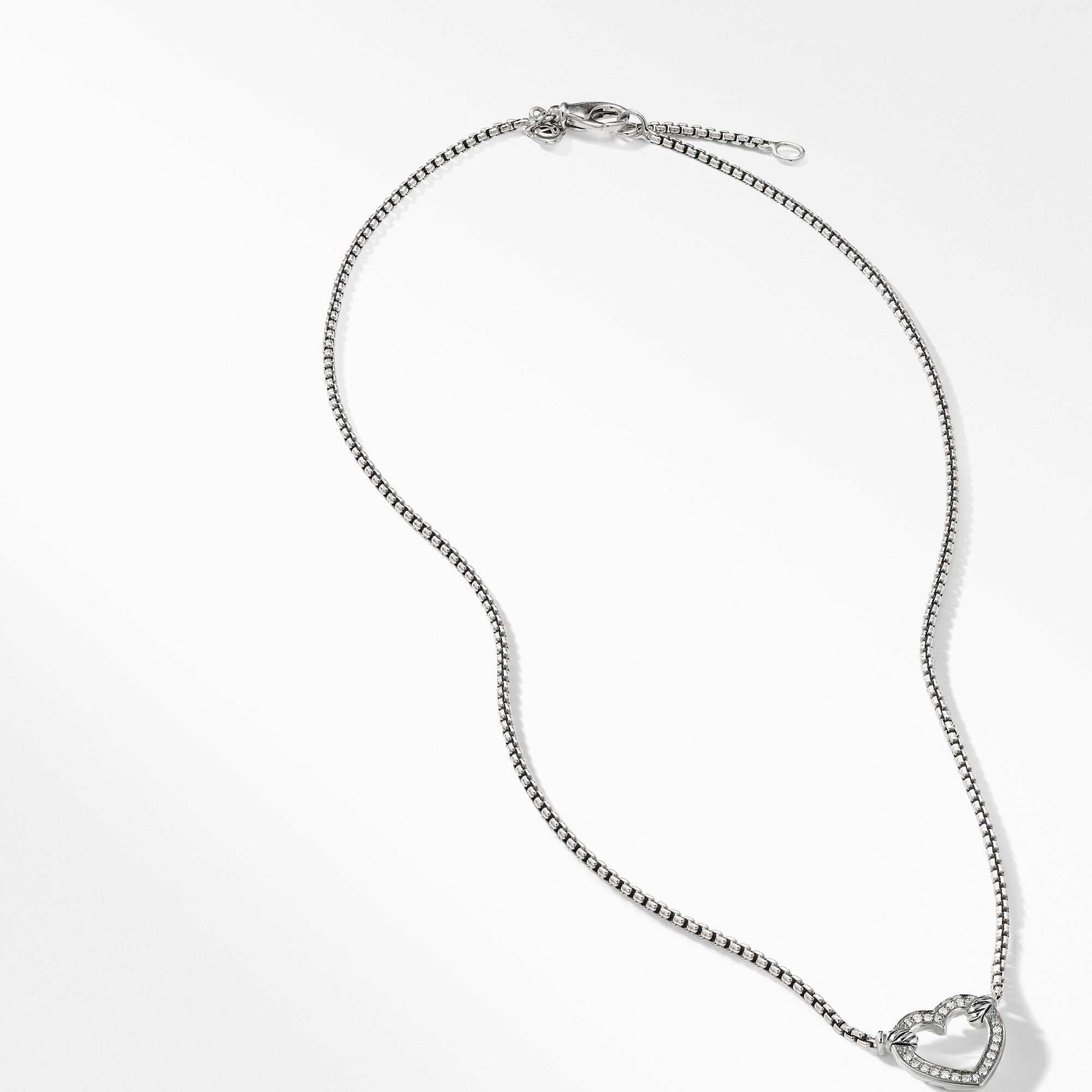 Heart Station Necklace with Diamonds