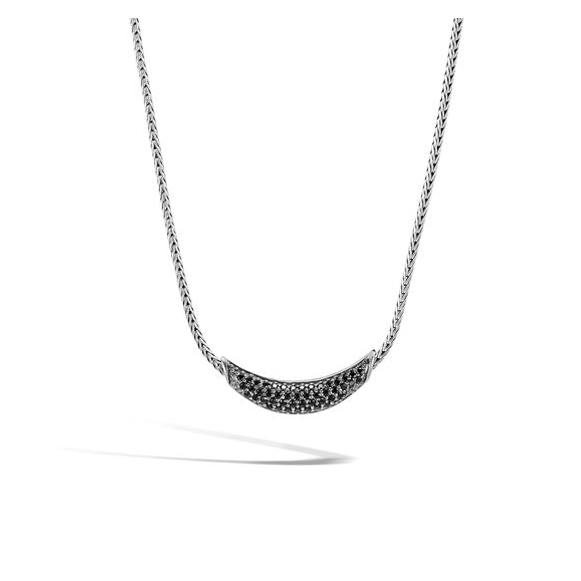 Women's Classic Chain Necklace with Black Sapphire, Black Spinel