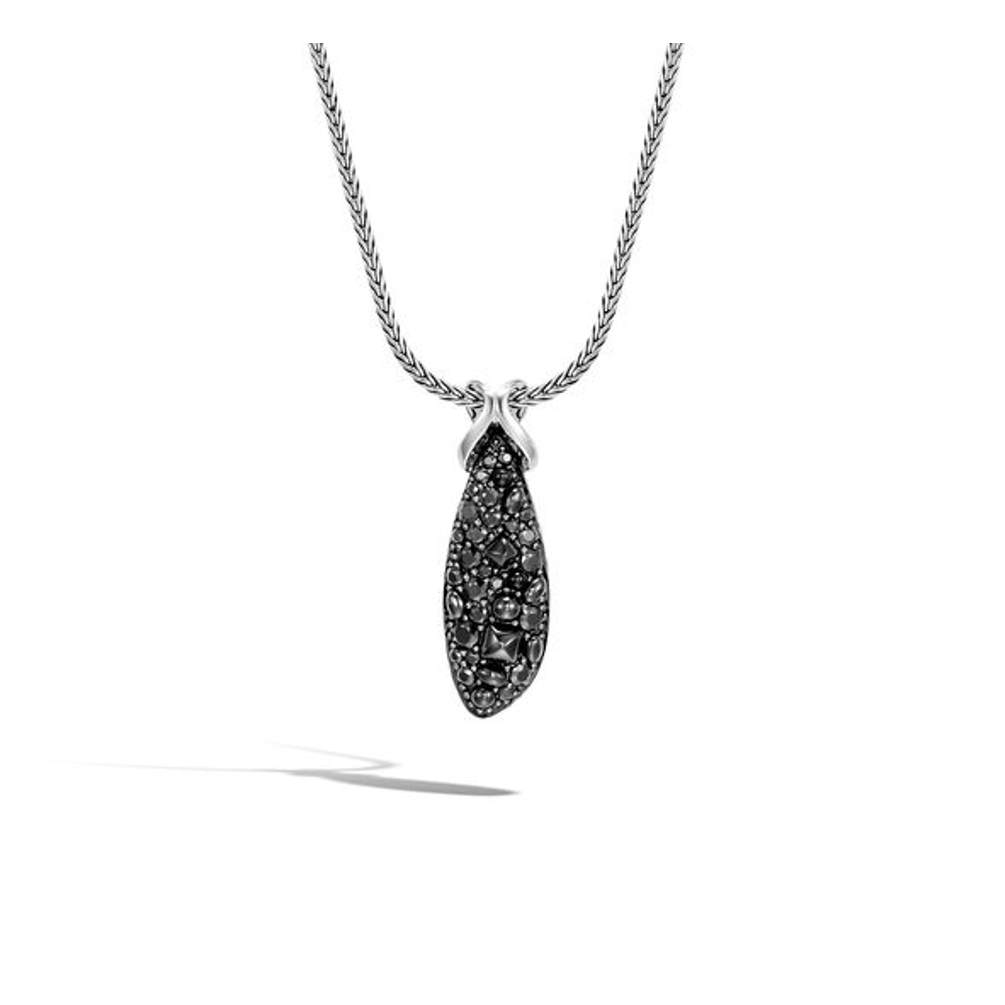 Women's Asli Classic Chain Link Necklace with Black Sapphire, Spinel