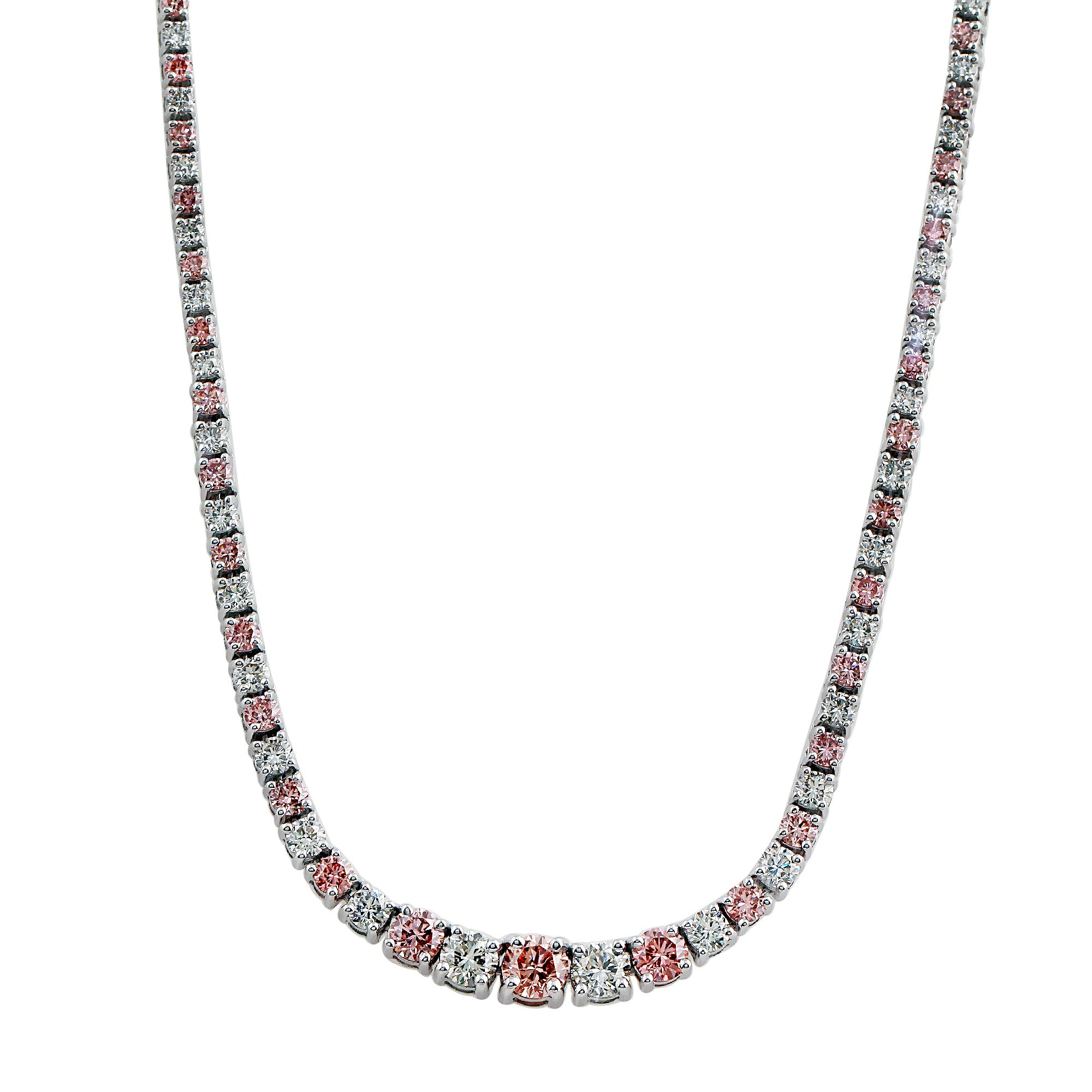 14K White Gold 10.00CTTW White and Pink Lab-Grown Diamond Necklace