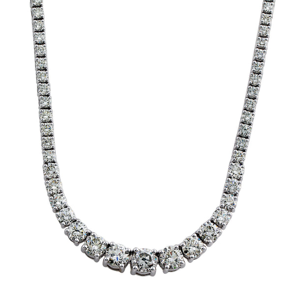 14K White Gold 22.00CTW Lab-Grown Diamond Graduated Necklace