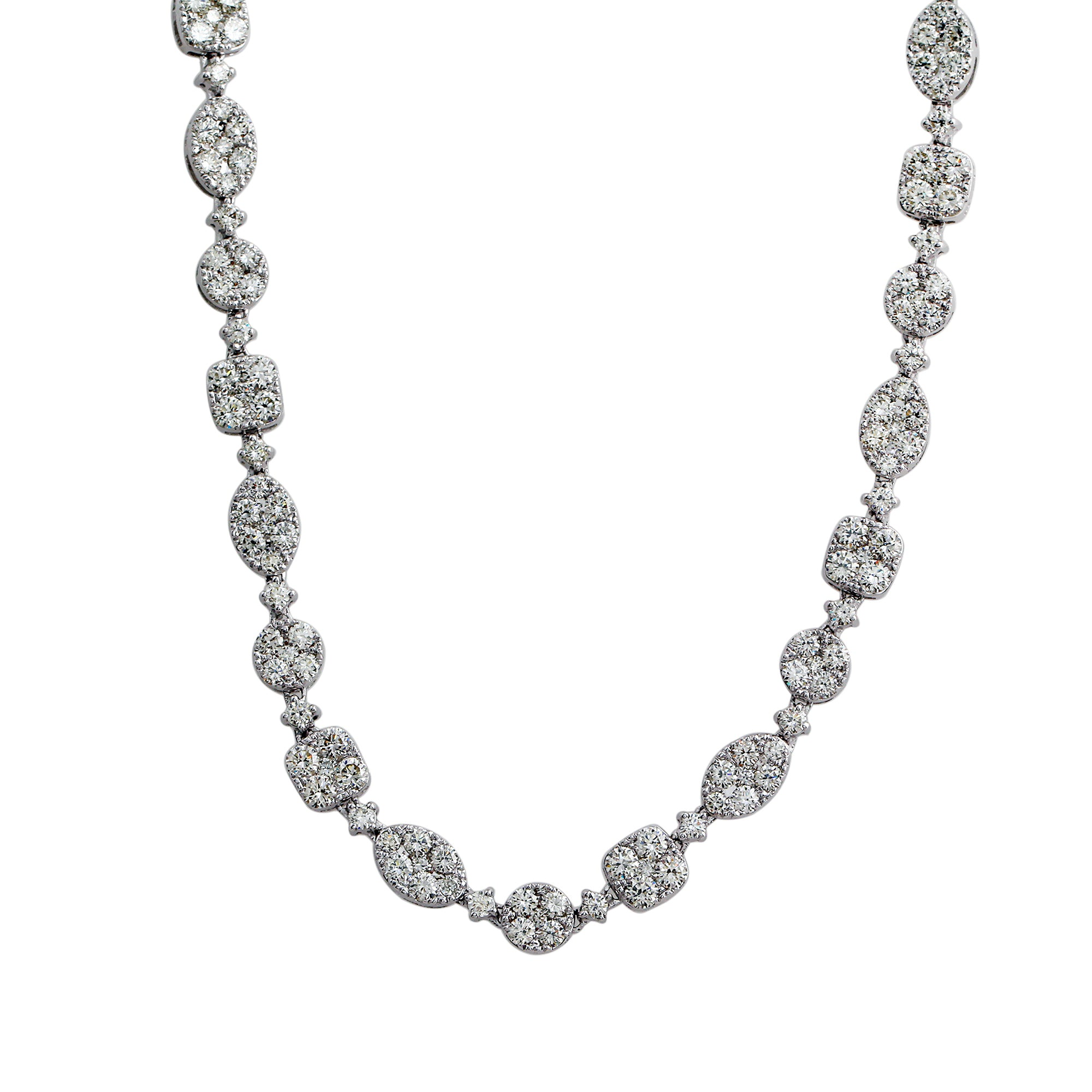 14K White Gold 16.65CTTW Lab-Grown Diamond Link Necklace 22""