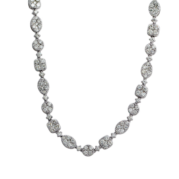 18K White Gold 14.00CTTW Lab-Grown Diamond Necklace