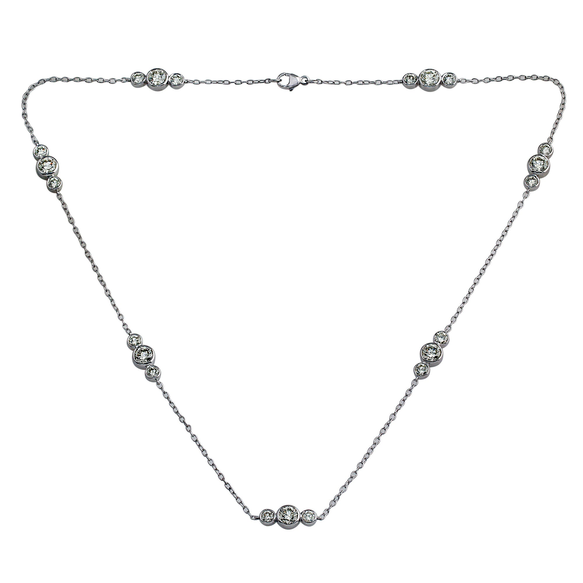18K White Gold, 5.70CTTW 3 Stone Lab-Grown Diamonds by the Yard Station Necklace