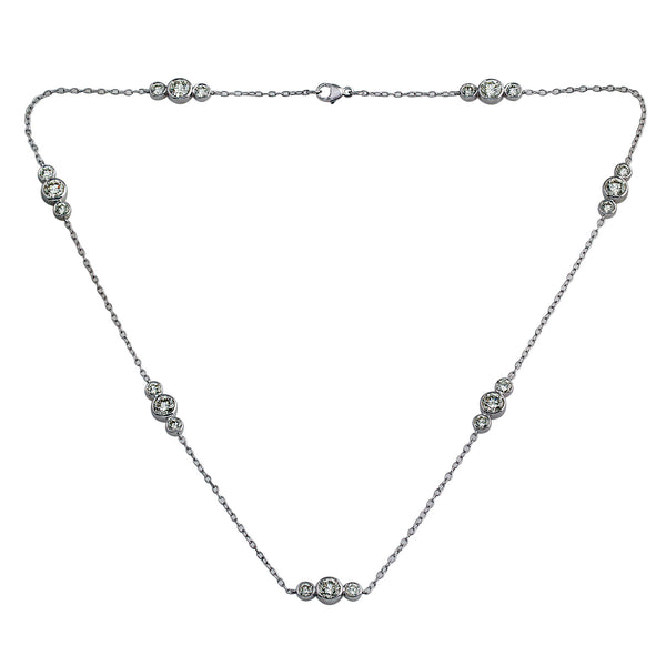 18K White Gold, 5.70CTTW 3 Stone Diamonds by the Yard Station Necklace