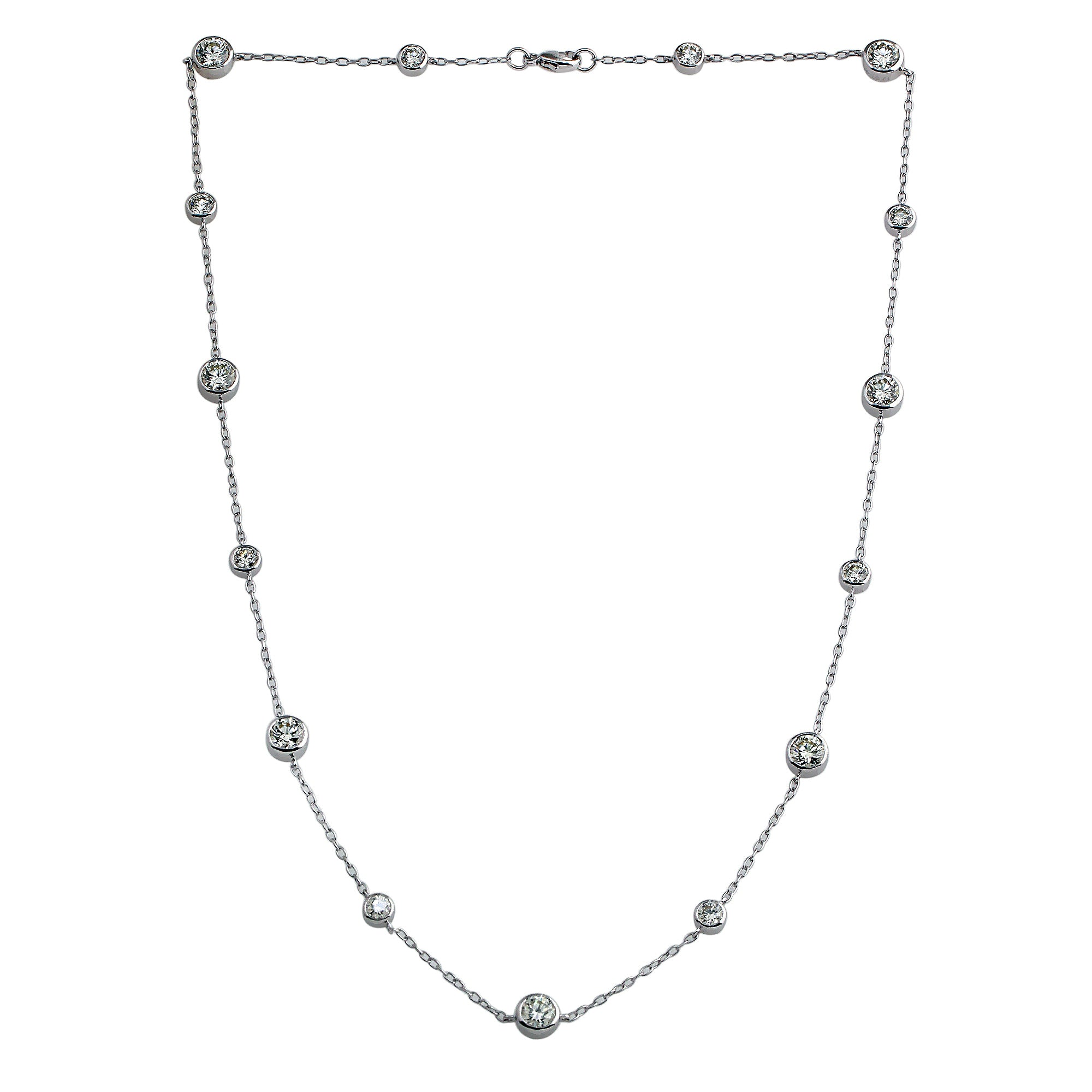 18K White Gold, 5.10CTTW Lab-Grown Diamonds by the Yard Station Necklace