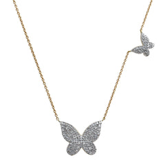 14K Yellow Gold Diamond Butterfly Necklace (0.45 ct. tw.)