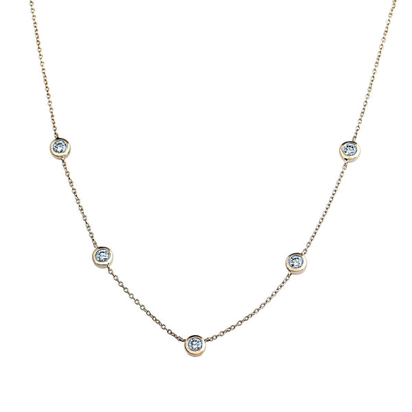 Phoenix Lab-Grown Diamond Station Necklace - 14k Gold Over Sterling Silver (.77 ct. tw.)