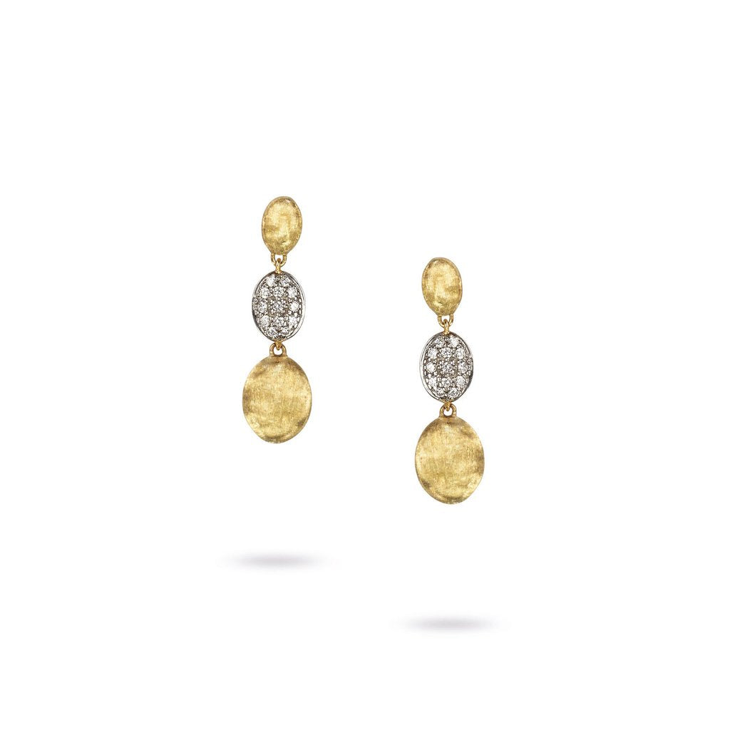 18K Yellow Gold  & Diamond Pave Triple Drop Earrings