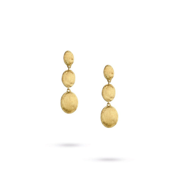 18K Yellow Gold  Triple Drop Earrings