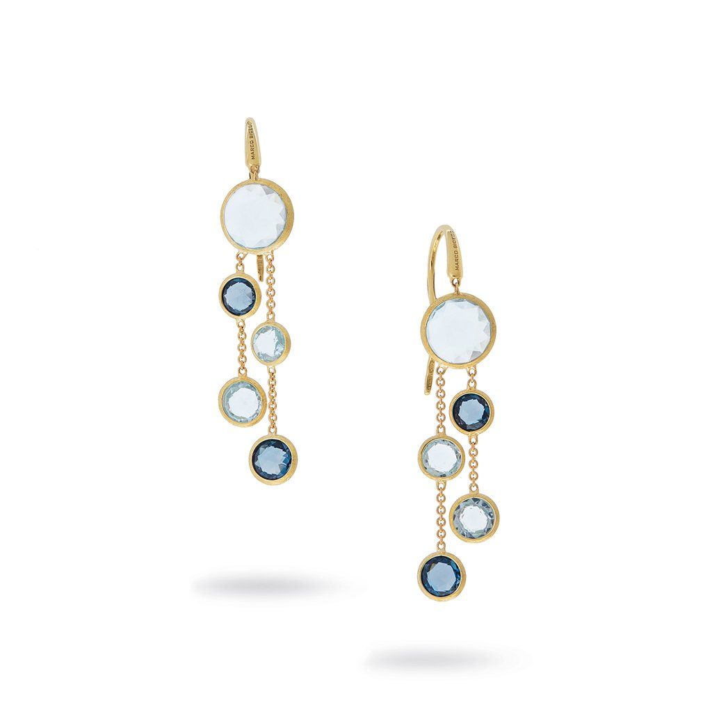 18K Yellow Gold and Mixed Blue Topaz Two Strand Earrings
