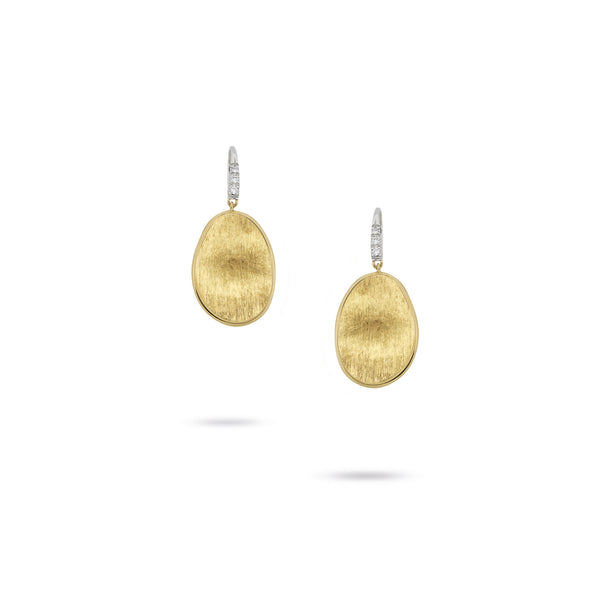 18K Yellow Gold & Diamond Pave Small French Wire Earrings