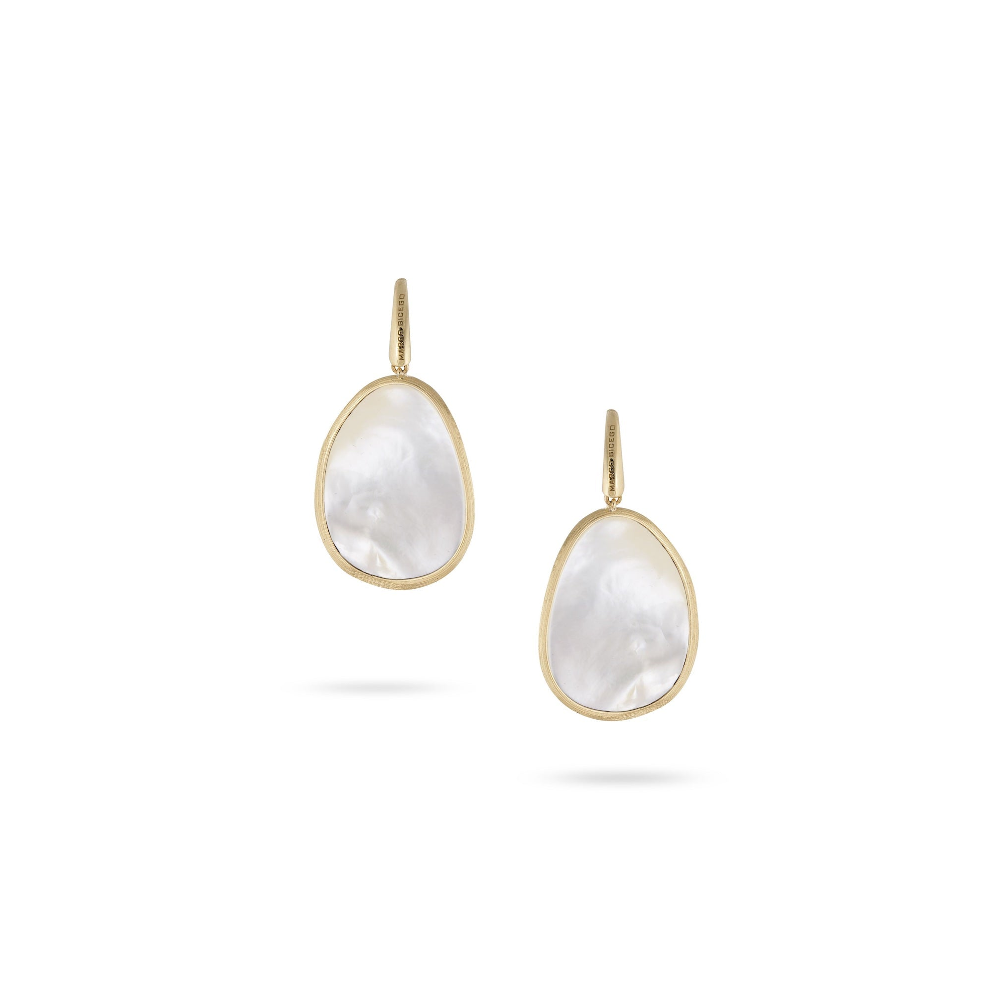 18K Yellow Gold White Mother of Pearl Drop Earrings