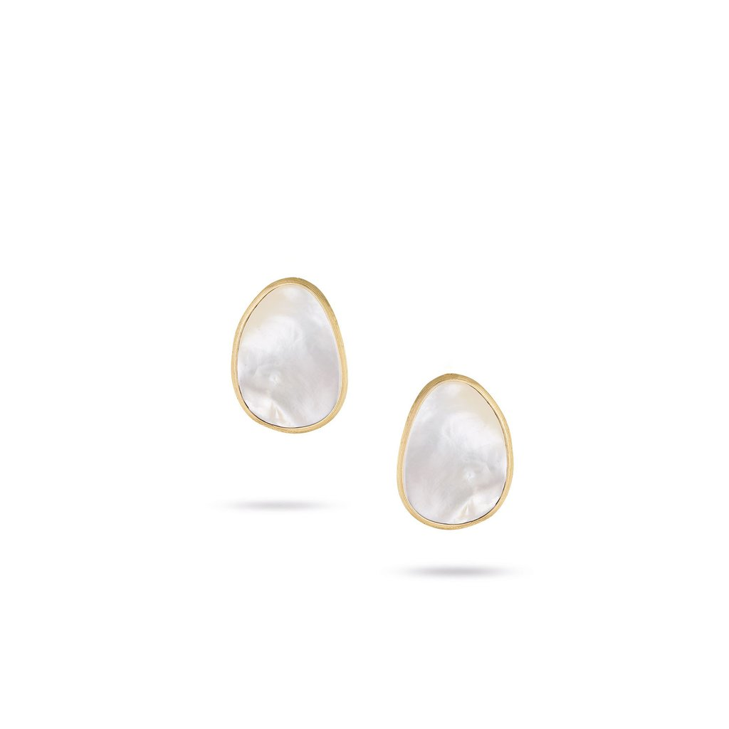 18K Gold and Mother of Pearl Stud Earrings
