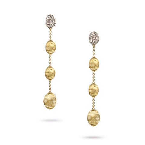 18K Yellow Gold  & Diamond Pave Four Drop Earrings