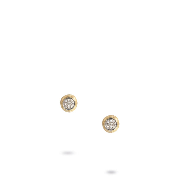 18K Yellow Gold & Diamond Pave Small Stud Earrings