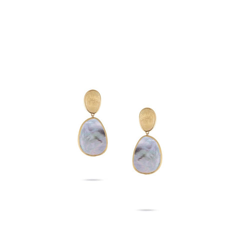 18K Yellow Gold  and Black Mother of Pearl Petite Earrings