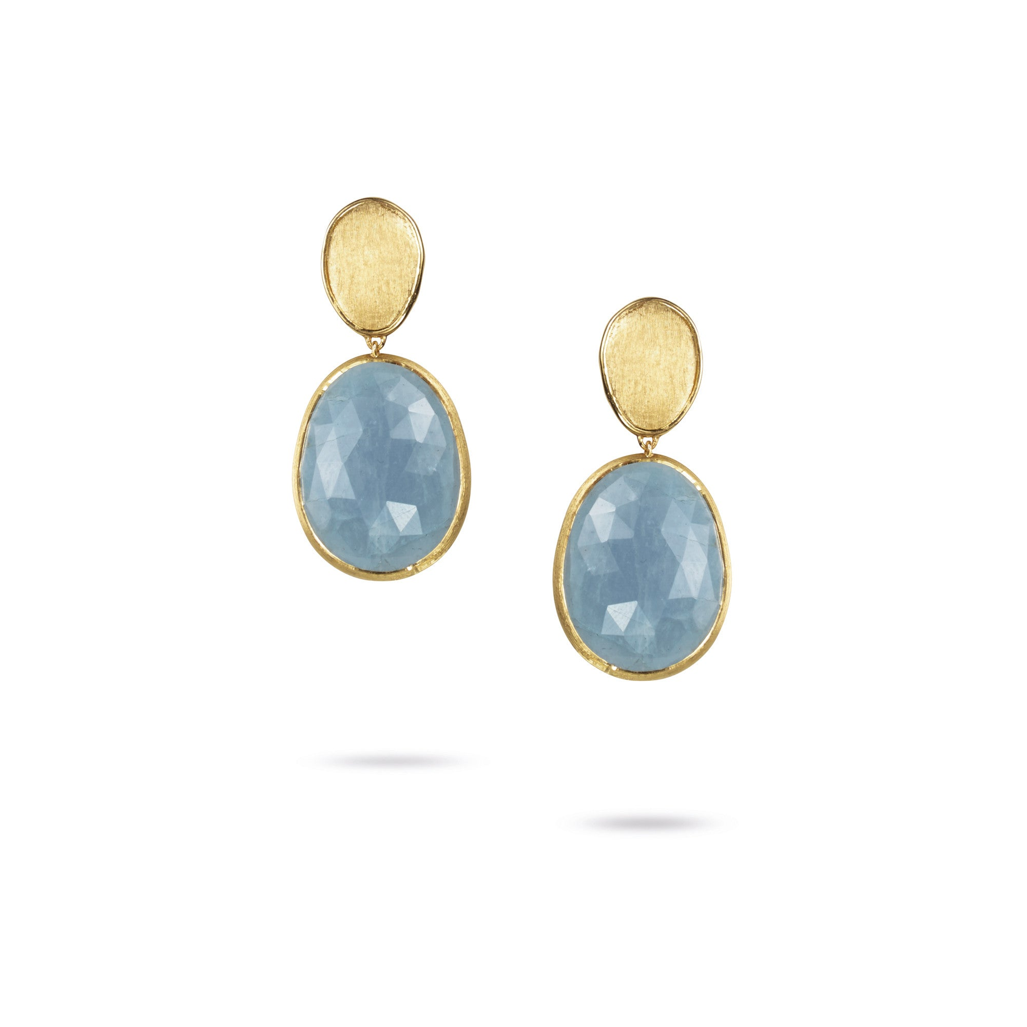 18K Yellow Gold Small Aquamarine Earrings