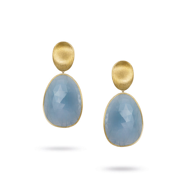 18K Yellow Gold Medium Aquamarine Earrings