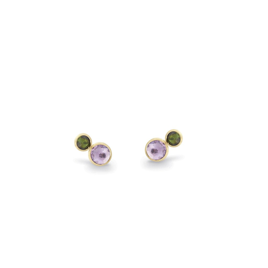 18K Yellow Gold  Two Stone Stud with Amethyst and Green Tourmaline