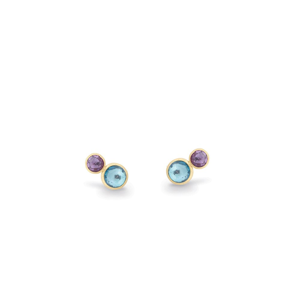 18K Yellow Gold  Two Stone Stud with Topaz and Amethyst