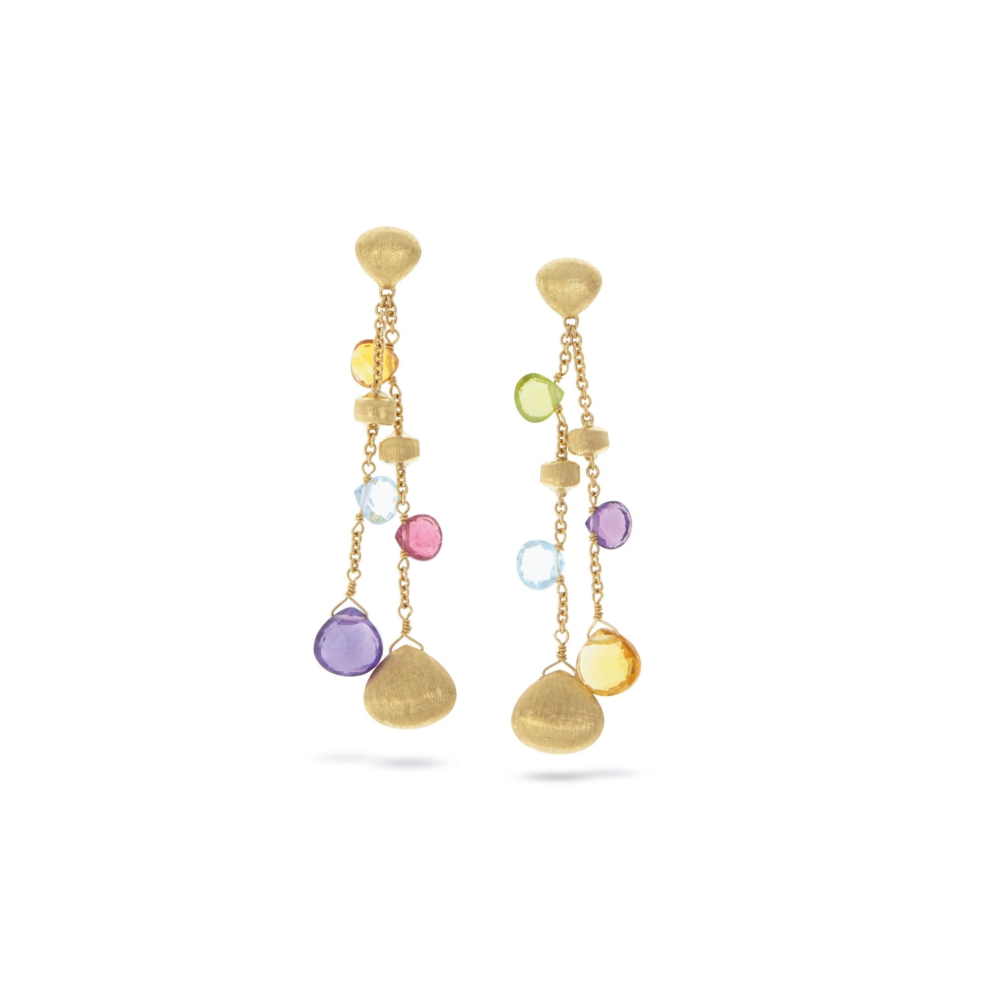 18k Yellow Gold Paradise Mixed Stone Drop Earrings