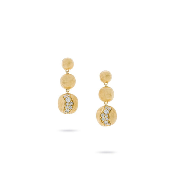 18K Yellow Gold Short Graduated Diamond Drop Earrings