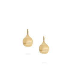 18K Yellow Gold and Diamond Medium French Wire Earrings