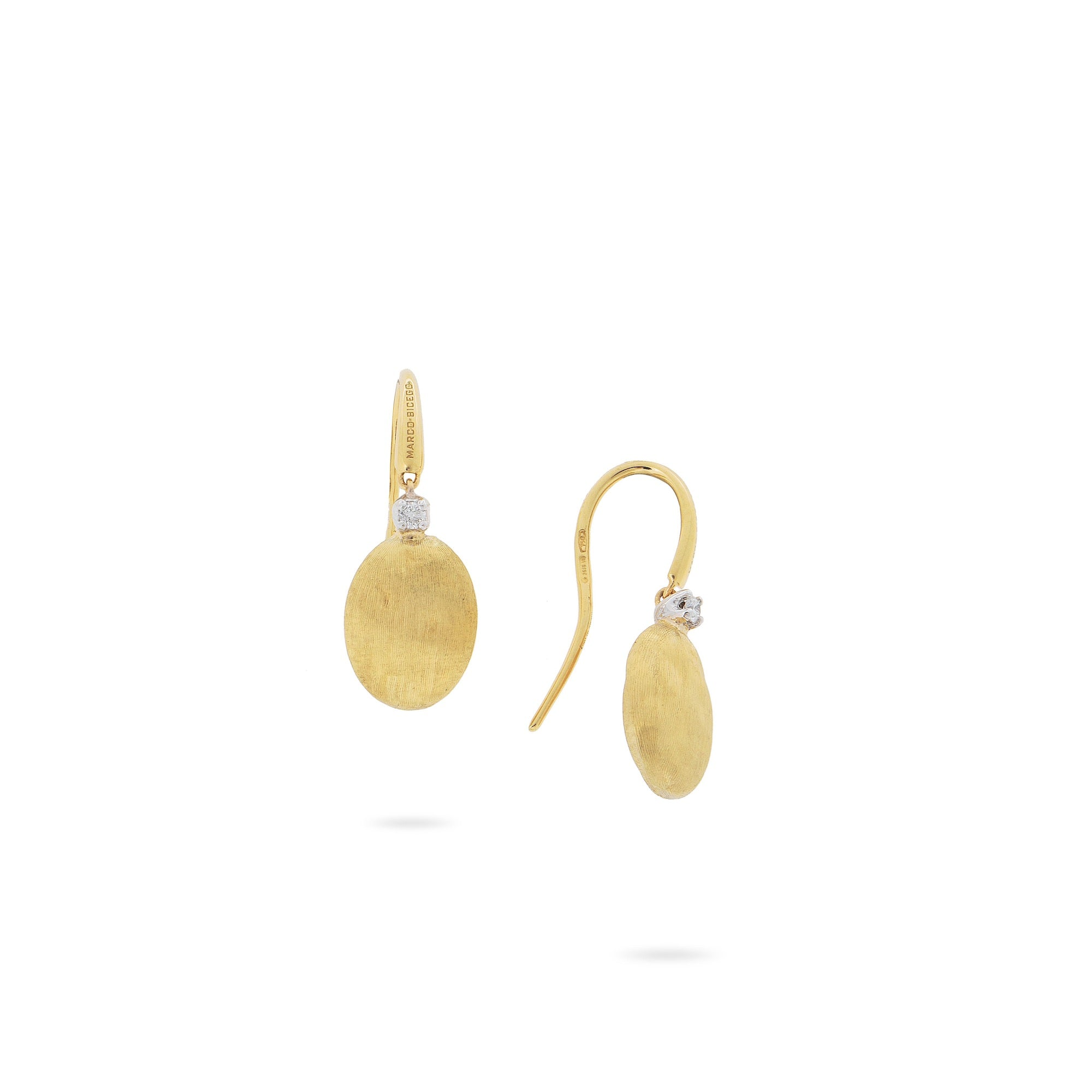 18K Yellow Gold & Diamond French Hook Earrings