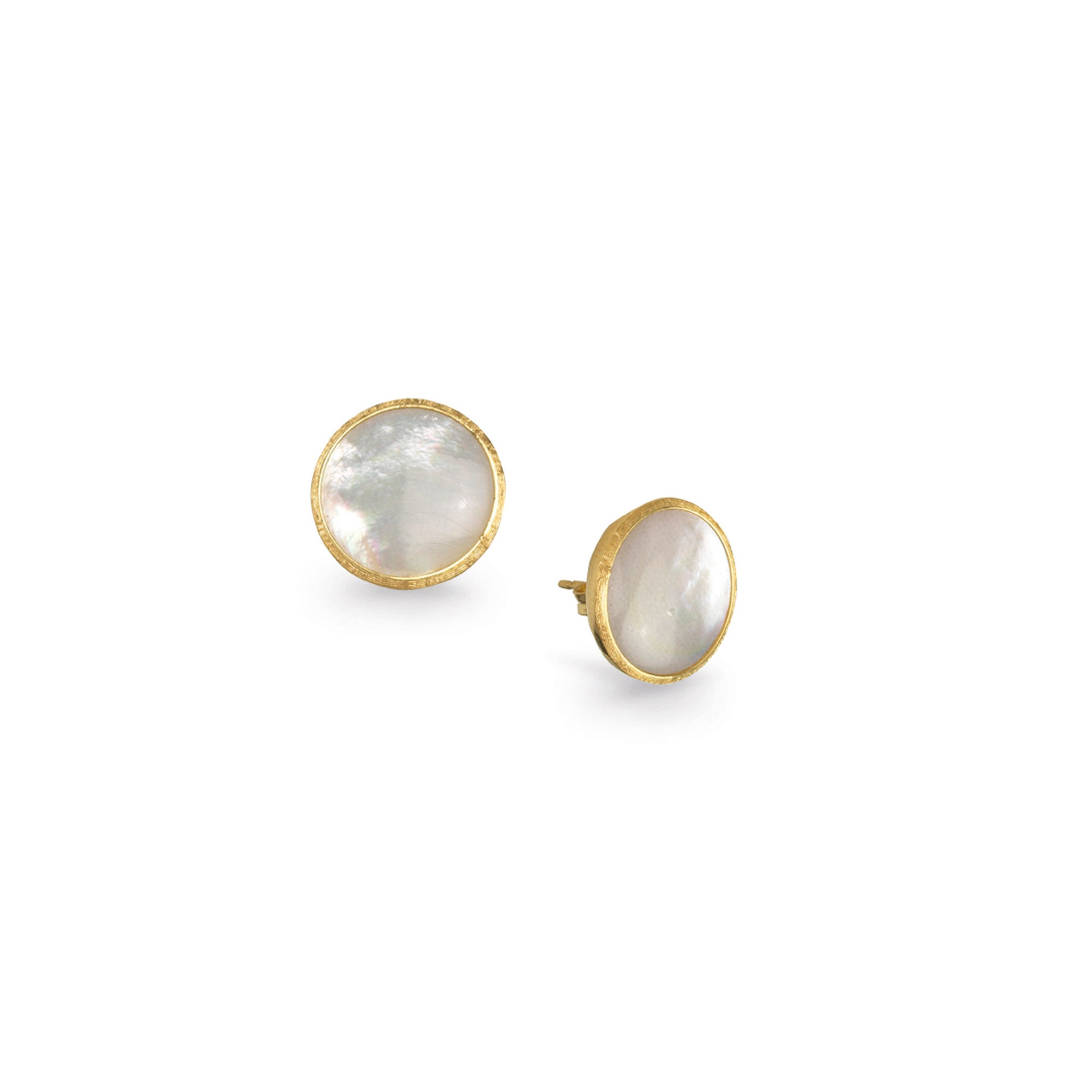 18K Yellow Gold Mother of Pearl Button Earrings
