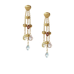 18K Yellow Gold Triple Strand Mixed Gemstone Earrings