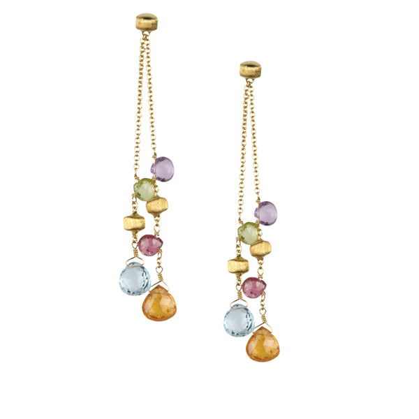 18K Yellow Gold Mutistrand Drop Chandelier Earrings