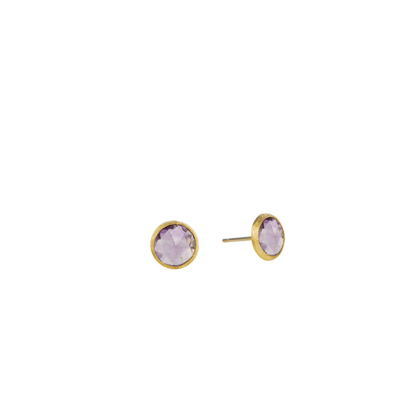 18K Yellow Gold & Amethyst Petite Stud Earrings