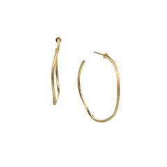 18K Yellow Gold Link Medium Narrow Hoop Earrings