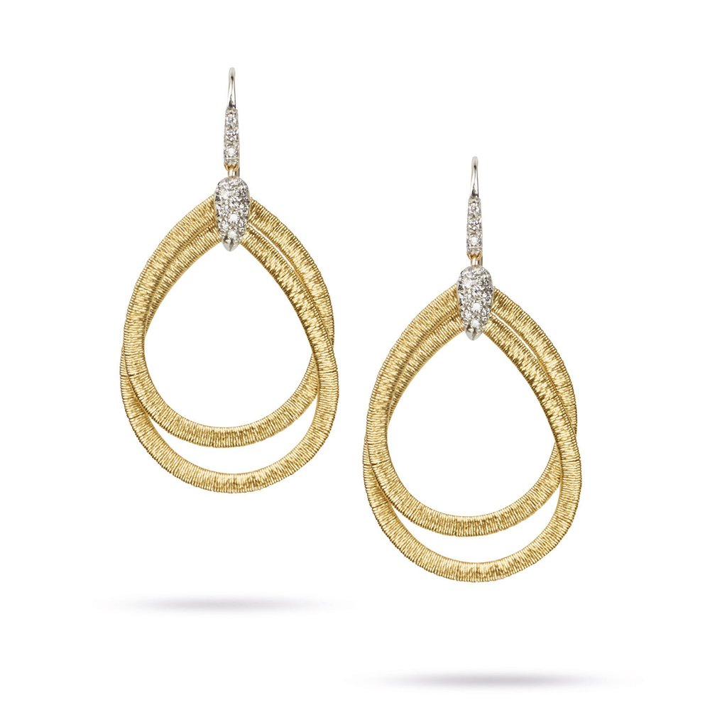 18K Yellow Gold  & Diamond Small Drop Woven Earrings