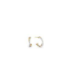 18K Yellow Gold & Pave Diamond Crossover Hoop Earrings